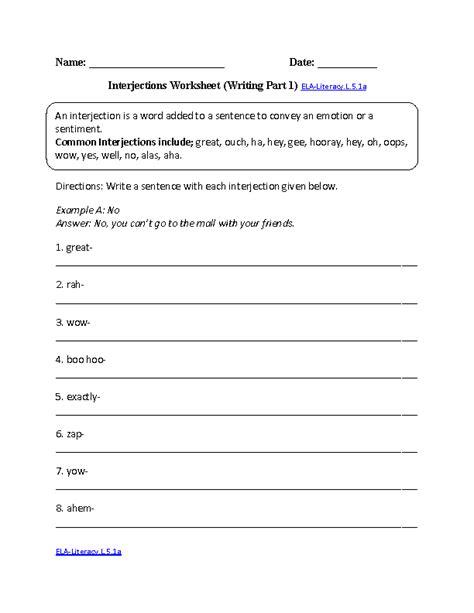5th Grade Common Core  Language Worksheets