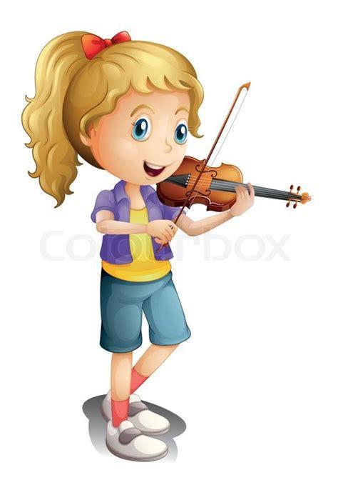 illustration   girl playing   violin   white