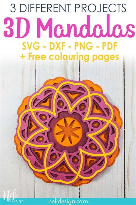Circle mandala designs represent wholeness, a never ending circle and have become super popular with colouring in books and crafters over the past few. 3 free SVG files to make 3D mandalas   NeliDesign