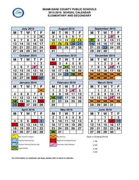 2015 2016 school calendar dade county miami free