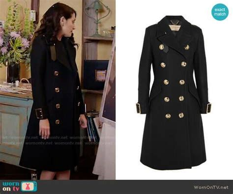 Abby's black coat with gold buttons on Girlfriends Guide ...
