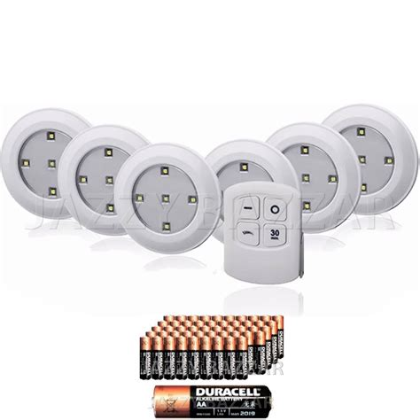 6 x white cabinet lights led wireless with remote