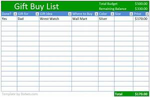 Buy Gift Checklist Template  Excel