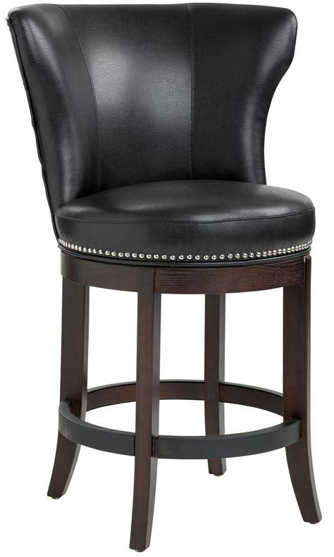 Tavern Black Leather Swivel Counter Stool From Sunpan