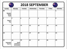 September 2018 Calendar NZ New Zealand Paper