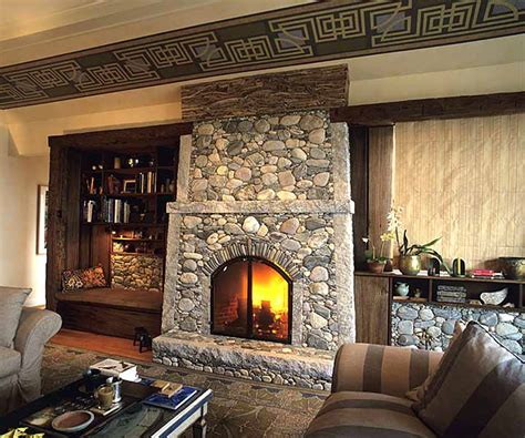River Rock Fireplace • Insteading