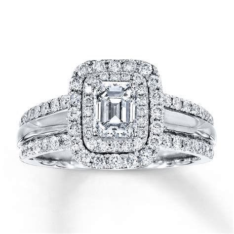 Diamond Engagement Ring 1-1/2 ct tw Emerald-cut 14K White
