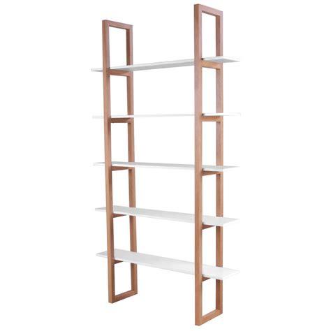 Interstil 5 Shelf Freestanding Bookcase Real Oak +white