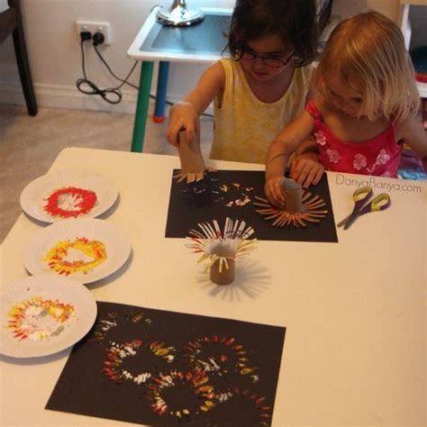 easy fireworks painting  kids fireworks craft