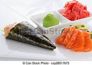 Picture of Salmon temaki isolated on white background ...