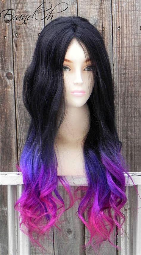 Black Purple Pink Ombre Remy Human Hair 250 300g