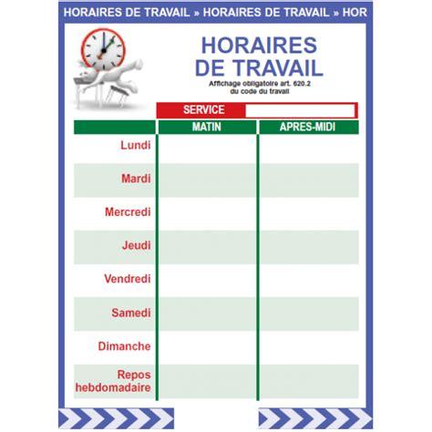 chambre contre service affichage obligatoire horaires de travail