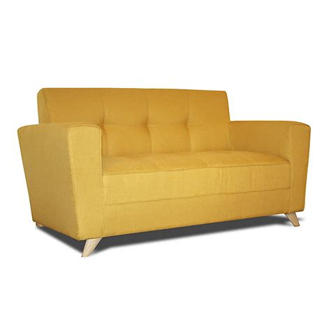 canapé 2 places fixe canapé 2 places fixe en tissu jaune canapé