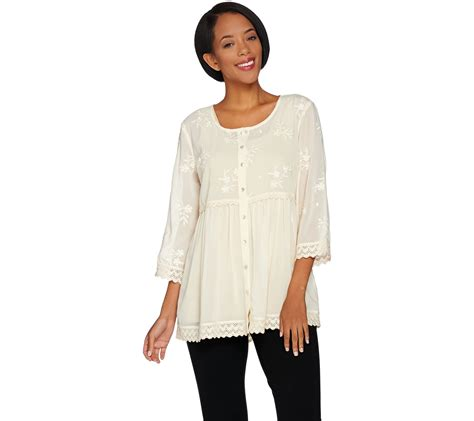 qvc blouses quot as is quot logo by lori goldstein button front woven blouse