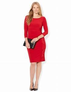 Lauren by ralph lauren Plus Ruffled Boatneck Jersey Dress ...