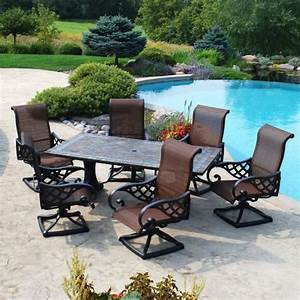 Backyard creations 7 piece yukon dining collection at for Menards patio furniture backyard creations