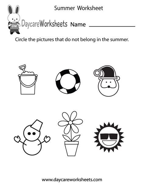preschool summer worksheet