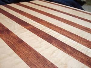 Edge-grain, nicely figured curly maple/bubinga cutting ...