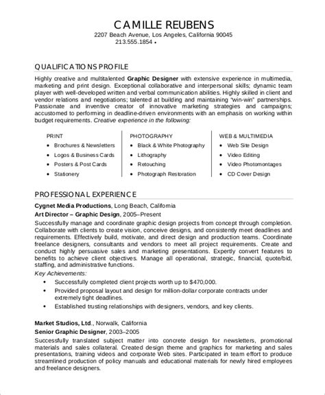 Graphic Designer Experience Resume Format by Sle Graphic Designer Resume 9 Exles In Word Pdf