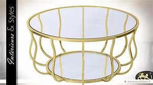Table Basse Dorée : table basse design ronde en laiton dor et marbre blanc int rieurs styles ~ Teatrodelosmanantiales.com Idées de Décoration
