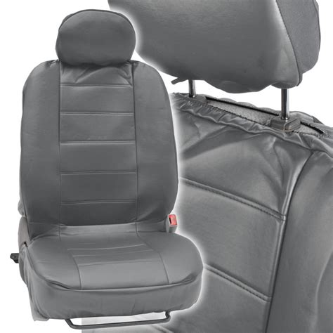 Car Seat Covers Front Pair  Leatherette Synth  Gray Arm