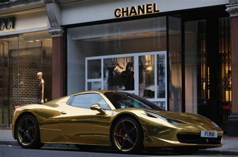 gold ferrari   chanel  gucci  london