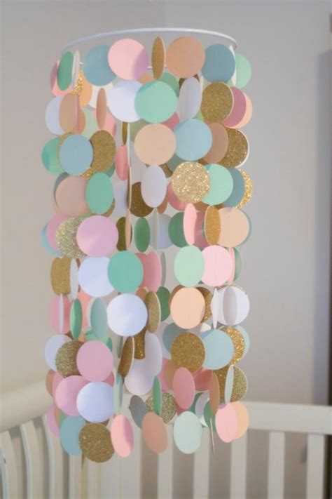 mint peach pink white  gold paper crib mobile modern
