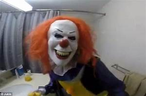 sister scares her older brother by dressing as a clown and With sister bathroom cam