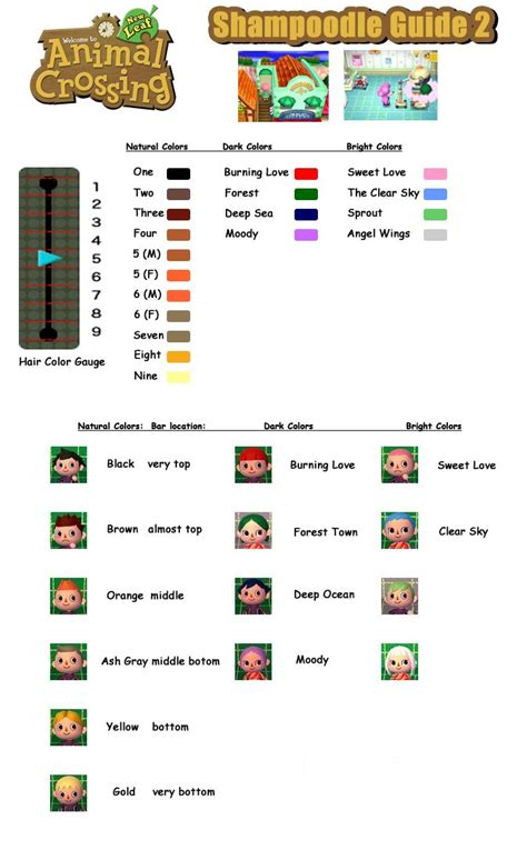 acnl hair color guide animal crossing new leaf hair color guide acnl guide