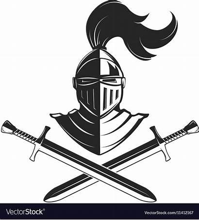 Knight Helmet Vector Swords Isolated Emblem Background