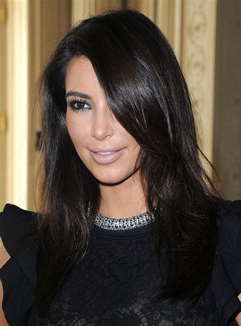 kim kardashian medium hairstyles casual black hair popular haircuts