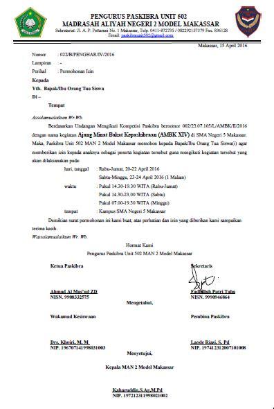 contoh surat permohonan izin   tua mengikuti lomba
