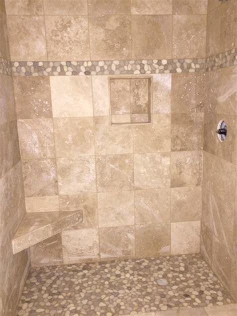 large java tan  white pebble tile shower border