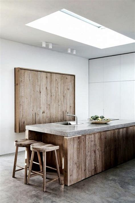 cuisine bois beton plan de travail en béton 43 idées d 39 îlots et de