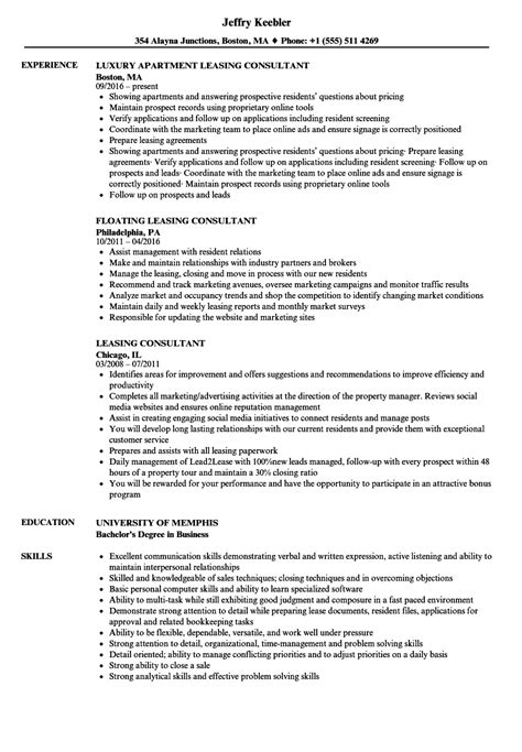 Leasing Resume Templates by Leasing Consultant Resume Sles Velvet