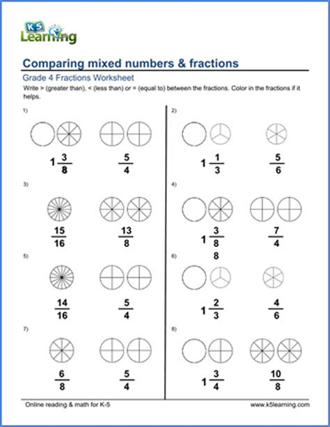 grade  math worksheets comparing mixed numbers