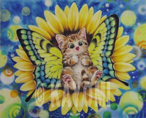 Sunflower Fairy - cats and kittens prints/art by Kayomi at