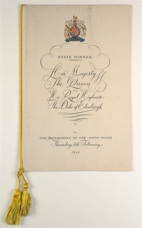 Royal House Menu by Programmes And Menus From The Royal Visit Of Majesty