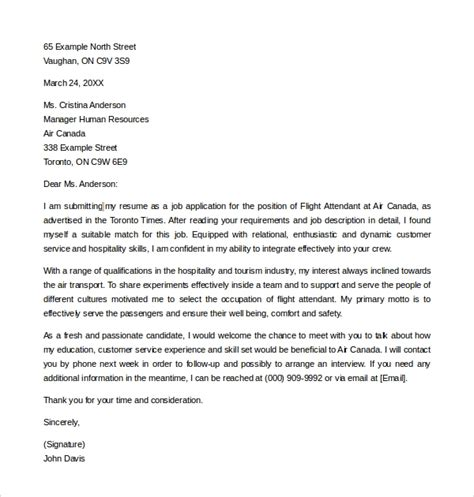 Flight Attendant Cover Letter No Experience by Use A Sle Flight Attendant Cover Letter