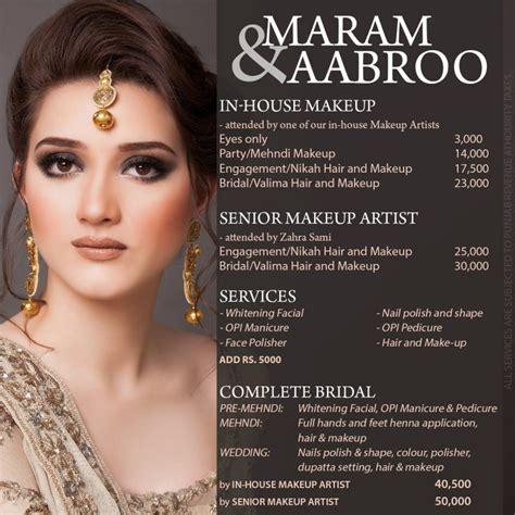 maram aabroo salon  studio services makeup price list