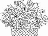 Coloring Basket Flower Pages Flowers Drawing Colouring Printable Bouquet Sketch Clipart Baskets Embroidery Getdrawings Getcolorings Detailed Pdf Library Clip Popular sketch template