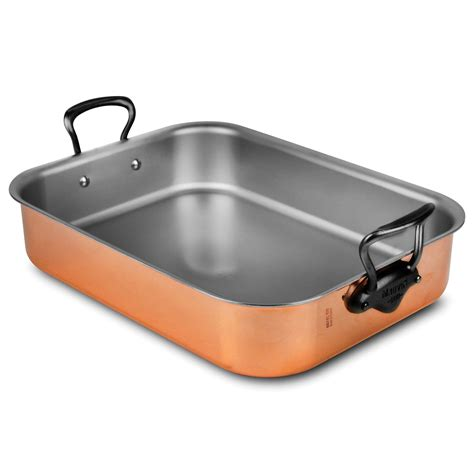mauviel copper roasting pan  stainless steel iron finish handles  cutlery