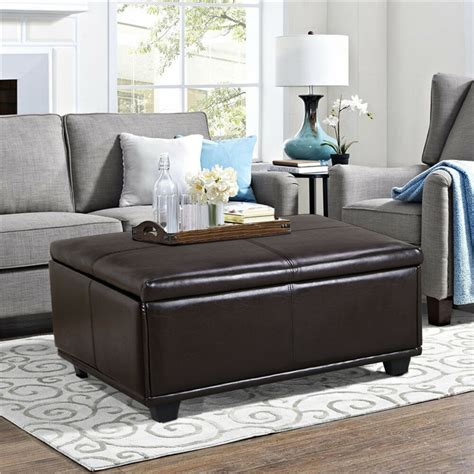 Leather Top Ottoman by Large Brown Leather Storage Ottoman Coffee Table Ebay