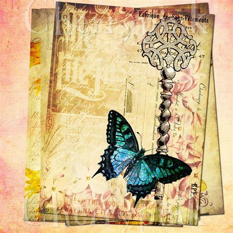 vintage collage scrapbook supply butterfly ephemera