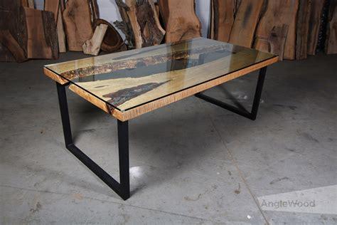 maple  edge glass top river table  shape legs