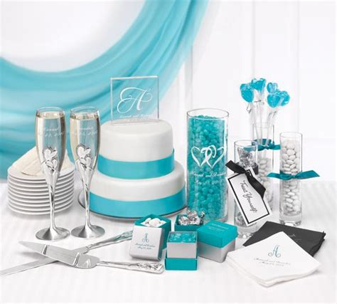 turquoise and silver decorations learn how to coordinate your wedding accessories we combined turquoise and white with a