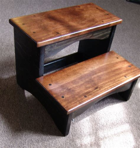 handcrafted heavy duty step stool wood bedside bedroom