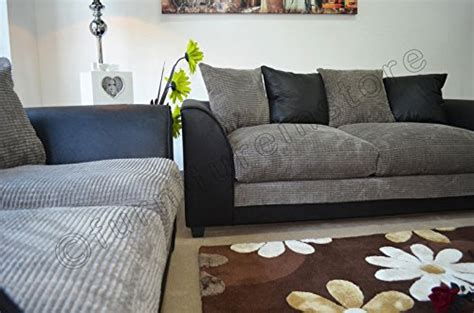Throwovers For Settees by Byron Black And Grey Fabric Sofa Settee 3 2