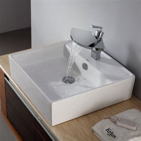 modern kitchen sink faucets kraus c kcv 150 14801ch white square ceramic sink and