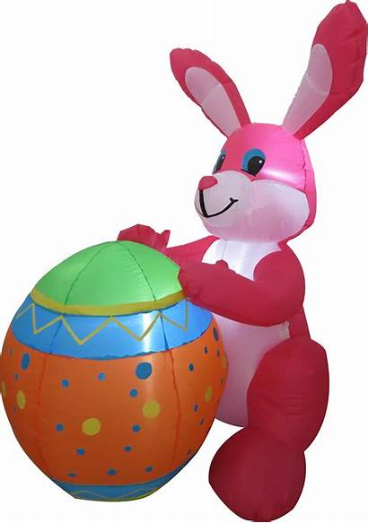 Easter Bunny Egg Pink Holding Inflatable Inflatables